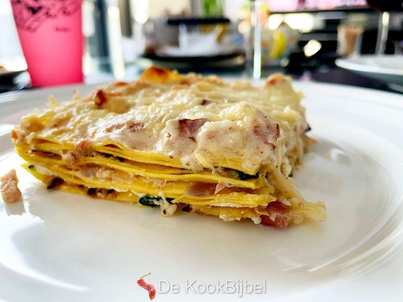 Lasagna carbonara met courgette