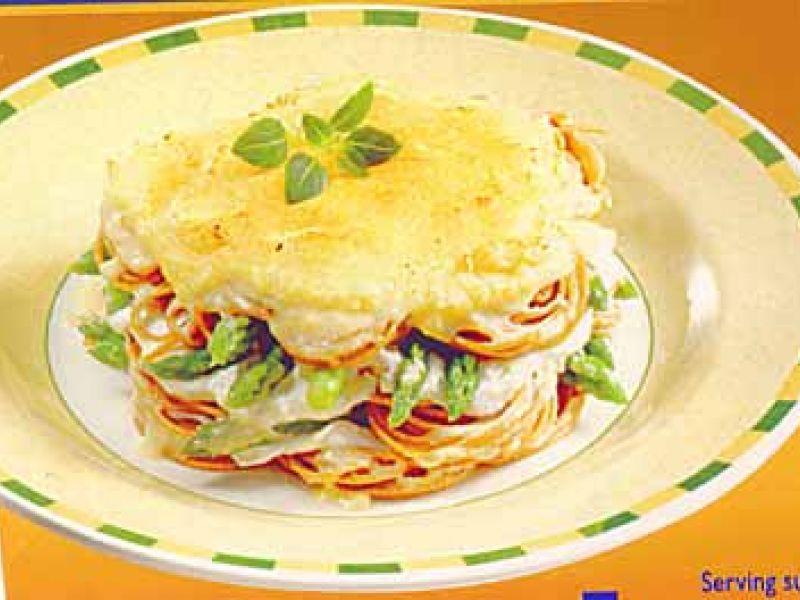 Volkoren spaghetti met asperges in de oven
