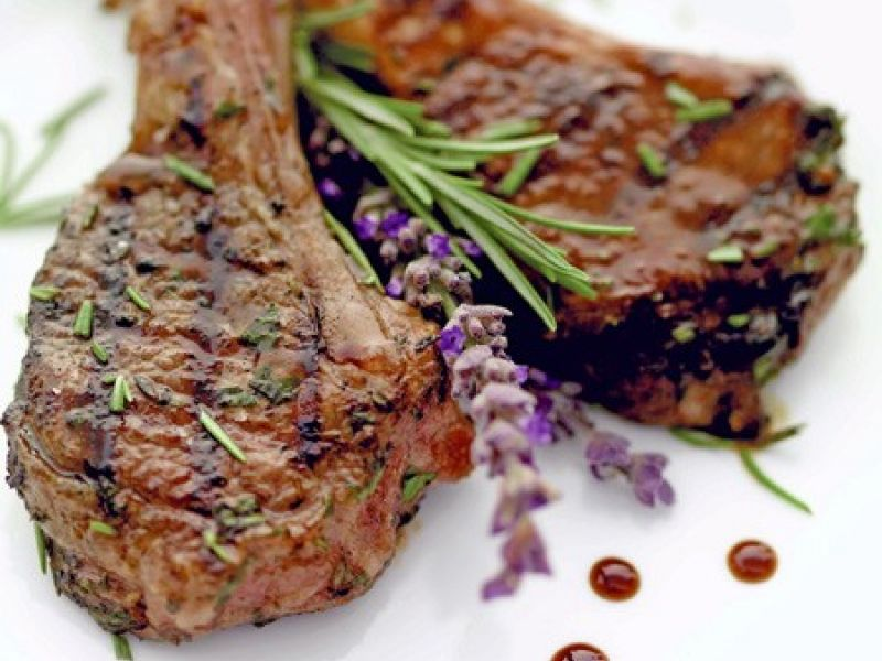 Marinated and grilled lamb chops