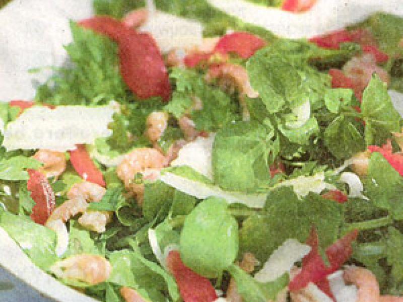 Kruidensalade met garnalen en boontjes