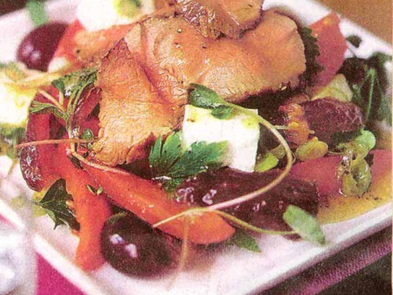 Salade van lamsvlees met honingdressing