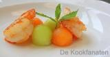 Soepje van meloen met scampi