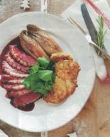 Eendenborst met port-honing saus en aardappelpannenkoekjes