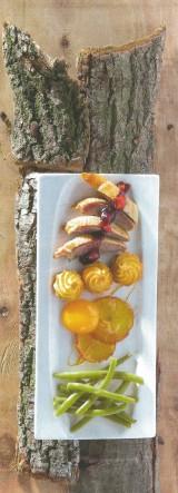 Gebraden eend met veenbessencompote en pommes duchesse