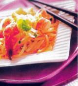 Salade van garnalen en sojascheuten