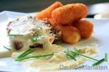 """Kalfsgebraad """"Prins Orloff"""" met aardappelkroketten"""