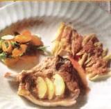 Kalfsribstuk met citroen, ui en wortel, pasta met room en ham