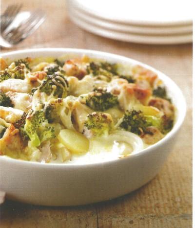 Aardappelgratin met kip en broccoli