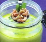 Erwt en groene paprika kokosoep